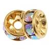 Rhinestone Rondelle (Flat Round) 6mm Gold/ Crystal Aurora Borealis